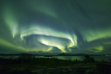 Aurora across night scenery
