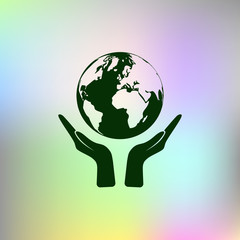Flat paper cut style icon of two hands holding Earth