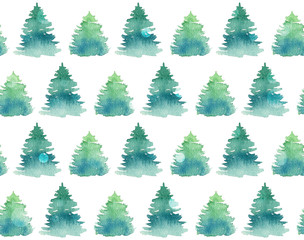 Seamless pattern with watercolor fir trees.