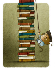 climbing a pile of books