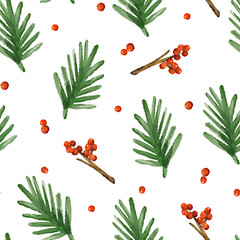 Christmas  pattern with spruce branches and berries. Watercolor style. Ornament for textile and wrapping. Vector
