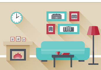 Interior of living room with fireplace and couch. Vector illustration in flat design with long shadows.