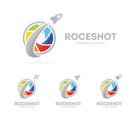 Vector of rocket and camera shutter logo combination. Airplane and photography symbol or icon. Unique photo and lens logotype design template.