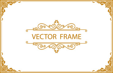 Gold photo frame with corner line floral for picture, Vector design decoration pattern style.frame floral border template, wood frame border design is patterned Thai style