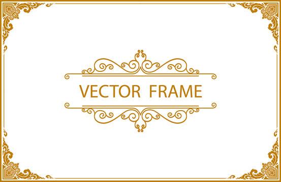 Gold photo frame with corner line floral for picture, Vector design decoration pattern style.frame floral border template, wood frame border design is patterned Thai style