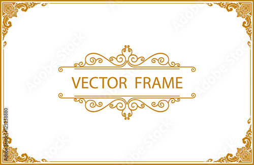 Gold photo frame with corner line floral for picture vector design gold photo frame with corner line floral for picture vector design decoration pattern style maxwellsz