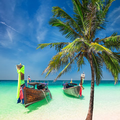 Amazing tropical landscape with Thai traditional wooden boats and palm tree at ocean beach under...