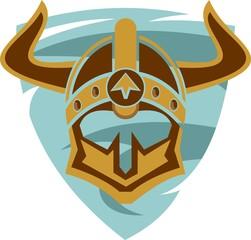 warrior helmet on blue shield