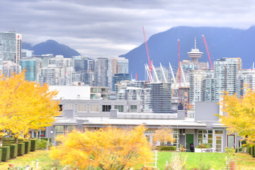 paint stylized image of Vancouver cityscape in the autumn
