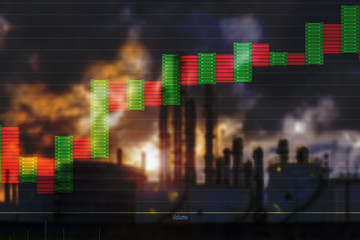 Oil and Gas Finance  concept  , Oil stock market  graph showing  Uptrend  of oil prices in the market and refinery background .