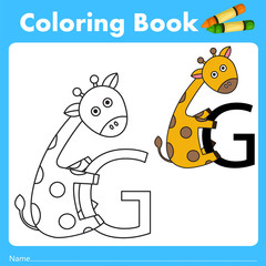Illustrator of color book with giraffe animal