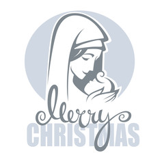 vector illustration of  virgin Mary and her Jesus Christ baby an