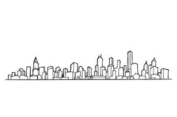 Cityscape Vector Illustration Line Sketched Up eps10