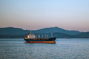 tanker against the shore
