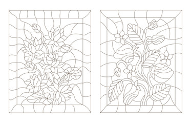 Set contour illustrations in the stained glass style, strawberry and Lotus , dark outline on a white background
