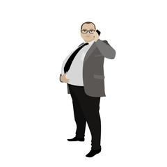 cartoon fat businessman with cell phone, isolated on white backg