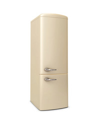 Beige refrigerator isolated on white