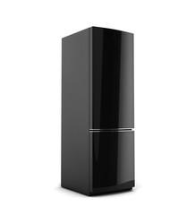 Black refrigerator isolated on white