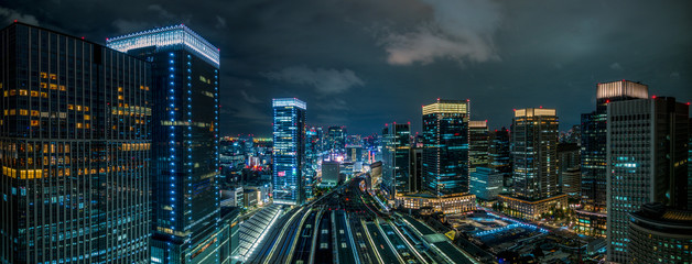 東京駅上空の夜景 パノラマ