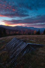 Dusk in the autumn mountains. Carpathians