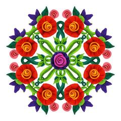 Plasticine  colorful decorative floral mandala sculpture isolated on white
