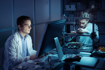 Engineering team working in the lab