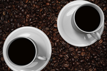 3D-Rendering von zwei Kaffeetassen kombiniert mit einem Bild von echten gerösteten Kaffeebohnen