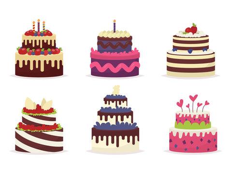 Set of beautiful cakes for birthdays, weddings, anniversaries an