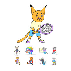 Cute little kittens doodle cartoon set in vector. Funny little kittens doing sports and playing outdoors.