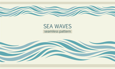 Wall Murals Abstract wave Seamless patterns with stylized sea waves