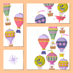 Set of 4 universal cards with hot air balloons. Template.