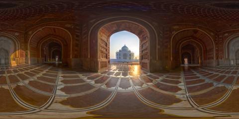 Taj Mahal, 360° Panorama zum Sonnenaufgang