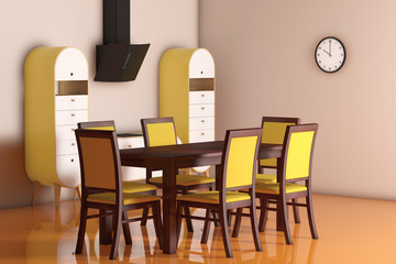 Simple Modern Olive - Green Kitchen with table and chairs. 3d Re