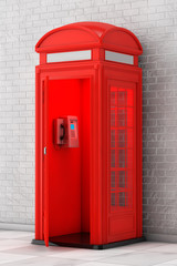 Classic British Red Phone Booth. 3d Rendering
