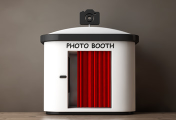 Photo Booth with Red Curtain. 3d Rendering