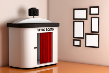 Photo Booth in front of Wall with Blank Picture Frames. 3d Rende