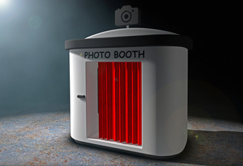 Photo Booth with Red Curtain in the volumetric light. 3d Renderi