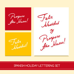 "Spanish Christmas cards set vector. ""Feliz Navidad y Prospero Ano Nuevo"" lettering for greeting card, holidays party invitation, rsvp prints. Hand drawn modern calligraphic design."
