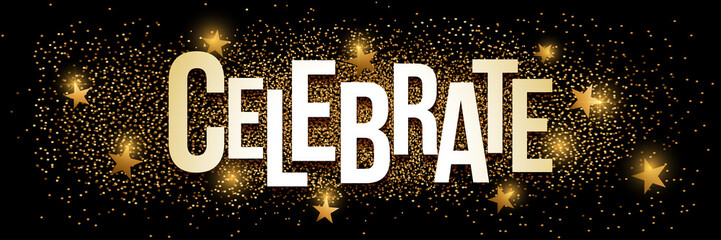 Celebrate golden glitter background banner.