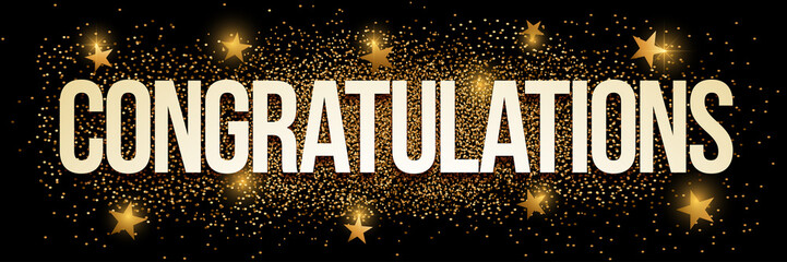 Congratulations golden glitter background banner.