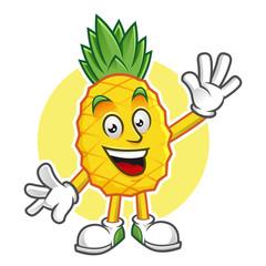 Greeting pineapple mascot, pineapple character, pineapple vector