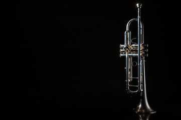 trumpet, wind instrument / lonely musical instrument which is a trumpet on a black background