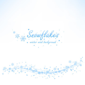 Beautiful winter wind wave with light blue snowflakes on white background. Vector illustration.