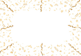 Gold confetti and streamer frame on white background Vector