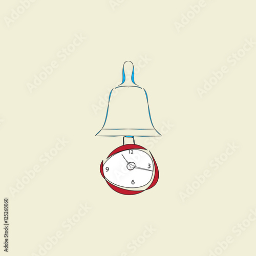 """clock With Pendulum And Alarm On Beige Background"" Stock"