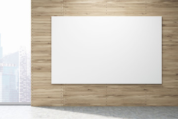Horizontal poster on light wood wall in New York, toned