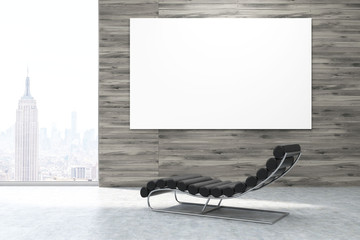 Massage chair in New York office with poster
