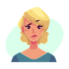 Pretty blond woman, upset, confused facial expression, cartoon vector illustrations isolated on blue background. Beautiful woman feeling upset, concerned, confused frustrated.