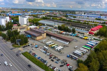 Tyumen, Russia - August 25, 2015: Bird eye view onto intercity bus station
