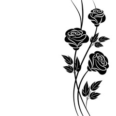 Simple floral background in black and white